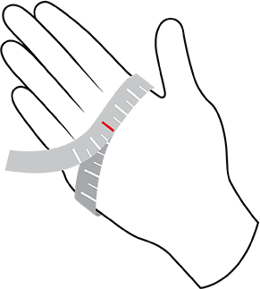 Gore glove size diagram